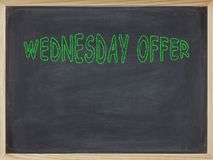 Wednesday Offer meat written on a blackboard. To mean a business concept royalty free stock photography