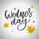 Wednesday. It s like a middle finger of the week. Brush Lettering Vector Illustration Design. Social media typography funny. Content. Fun for calendar template stock illustration