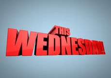 Wednesday Sale Banner. 3D illustrated background with a banner for a wednesday sale, in red color Stock Images