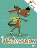 Wednesday. Weekdays hipster vector illustration calendar set Royalty Free Stock Image