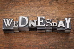 Wednesday word in metal type Royalty Free Stock Photos