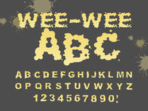 Wee-wee ABC. Yellow liquid font. piss typography. Urine alphabet. Fluid letters Royalty Free Stock Image
