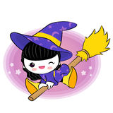 Wee witch flying on broom Stock Photos