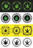 Weed ganja marijuana leaf badge Stock Images