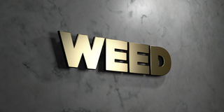 Weed - Gold sign mounted on glossy marble wall  - 3D rendered royalty free stock illustration. This image can be used for an online website banner ad or a Royalty Free Stock Images