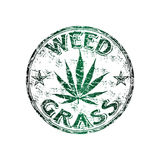 Weed grunge rubber stamp. Green grunge rubber stamp with marijuana leaf and the text weed grass written inside the stamp Stock Images