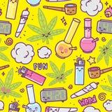 Weed kawaii cartoon seamless vector pattern Stock Photo