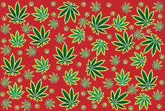 Weed leaf pattern in red background Royalty Free Stock Images