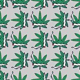 Weed marijuana seamless vector pattern background. Royalty Free Stock Images