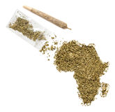 Weed in the shape of Africa and a joint.(series) Stock Photo