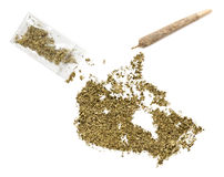 Weed in the shape of Canada and a joint.(series) Royalty Free Stock Images