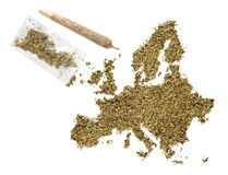 Weed in the shape of Europe and a joint.(series) Stock Photo