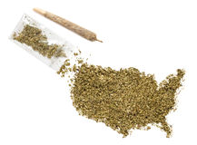 Weed in the shape of USA and a joint.(series) Royalty Free Stock Photo