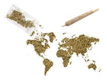 Weed in the shape of the world and a joint.(series) Stock Image