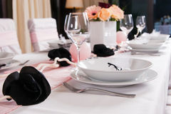 Weeding Interior XIV. Table set for a wedding dinner Stock Images