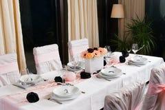 Weeding Interior XIX. Table set for a wedding dinner Royalty Free Stock Photos