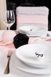 Weeding Interior XVI. Table set for a wedding dinner Stock Image