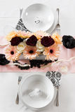 Weeding Interior XX. Table set for a wedding dinner Royalty Free Stock Photography