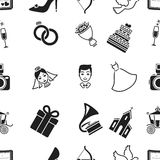 Weeding pattern icons in black style. Big collection of wedding vector symbol stock illustration Royalty Free Stock Photo