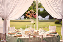 Weeding table arrangement royalty free stock photography