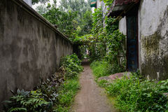 Weedy unpaved path between aged wall and buildings Stock Photos