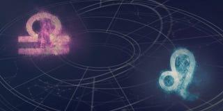 Weegschaal en Leeuw de verenigbaarheid van horoscooptekens De samenvatting van de nachthemel stock illustratie