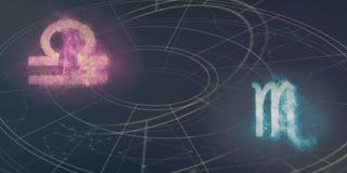 Weegschaal en van Schorpioen de verenigbaarheid van horoscooptekens De Samenvatting van de nachthemel vector illustratie