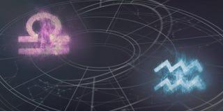 Weegschaal en van Waterman de verenigbaarheid van horoscooptekens Nachthemel Abst stock illustratie