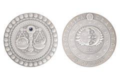 Weegschaal Witrussisch zilveren muntstuk stock foto