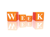 Week in 3d cubes Royalty Free Stock Photos