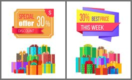 This week best price 30 off special exclusive offer. Special offer this week best price 30 off special exclusive offer sale posters piles of gift boxes wrapped Royalty Free Stock Photos