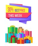 This week best price 30 off special exclusive offer. Sale poster piles of gift boxes wrapped in decorative color paper, vector illustration banner Royalty Free Stock Images