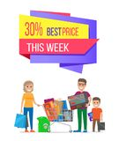 This Week 30 Best Price Sale Label on Poster. With family on shopping. Mother, father and child carrying trolley full of electronic equipment vector Stock Photo