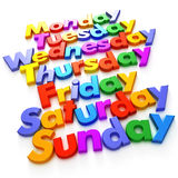 Week day in letter magnets. Days of the week formed with colourful letter magnets stock illustration