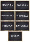 Week days on chalkboard Stock Images