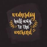 Week days motivation quotes. Wednesday. Stock Photo