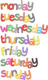 Week Days Text Clip Art. Days of the week text clip art resembling fabric with stitching Royalty Free Stock Image
