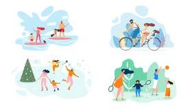 Week-end d'été sur l'appartement de vecteur de famille entière de rivière illustration stock