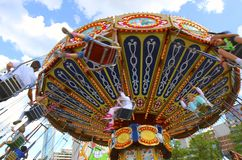 Week-end fun. For children, carousel in Show Quarter, Montreal Stock Photography