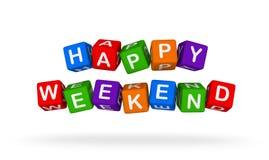 Week-end heureux Toy Block Flying coloré sur le fond blanc Images stock