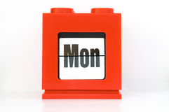 Week , Mon. Weekly calendar with red ,week Mon Royalty Free Stock Photo