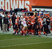 Week 14 NFL 49ers vs Browns Sideline Fight. 12/13/15 A fight between players on the sidelines at FirstEnergy Stadium in Cleveland Ohio during week 14 of the NFL stock photos
