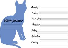 Week planner with blue cat. Plan for a week with cat Stock Photos