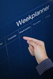 Week planner board Stock Image