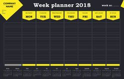 Week planner 2018 calendar, schedule and organizer for companies and private use. Yellow and dark grey design Stock Image