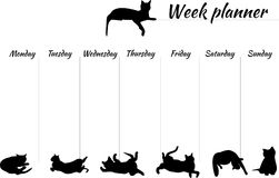 Week planner with a cats. Planner for a week to the day, image of cats in black on a white background. vector illustration of blank. speakers by days of the week Stock Image