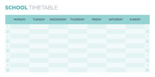 School timetable vector planner for a week. Week planner for school, vector timetable template stock illustration