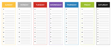 Week planning calendar in colors of the day Stock Photo