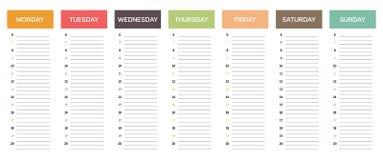 Week planning calendar in nice muted colors. Week planning calendar in muted colors, with retro or vintage feel, business schedule, everyday planner, minimalist Stock Illustration