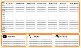 Week planning notebook. Simple vector illustration Royalty Free Stock Image